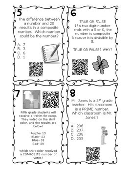 Prime and Composite Task Cards- FREE SAMPLE Augmented Reality & QR Code