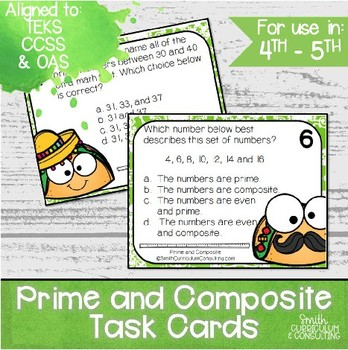 Prime and Composite Task Cards | TEKS 5.4a