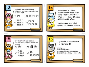 Prime and Composite Task Cards in Spanish