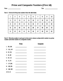 Prime and Composite Worksheet