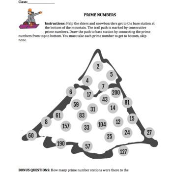 Prime numbers ski & snowboard math sheet grade 3-6 CCSS.MATH.CONTENT.4.OA.B.4