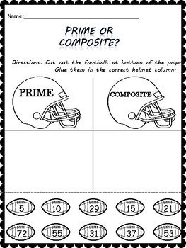 """Prime or Composite """"Cut and Paste"""""""