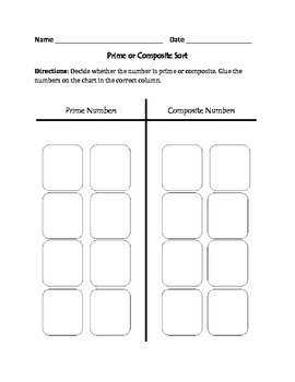 Prime or Composite Numbers: Cut, Sort, & Paste Activity