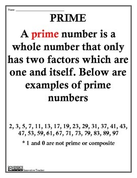 Prime or Composite Study Guide and Worksheet