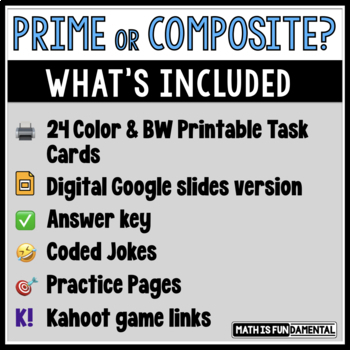 Prime or Composite? Task Card Set # 1 with Coded Answer Document
