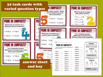 Prime or Composite? task cards + printables (set b) - Common Core Math-aligned