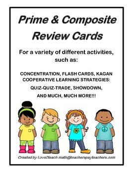 Prime/Composite Number Kagan Strategy Review Cards