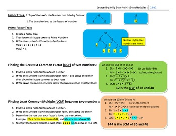 PrimeFactors GCF LCM