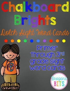Primer - 3rd Grade Dolch Sight Word Cards {Chalkboard Brights Theme}