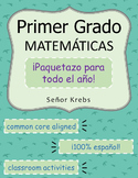Primer Grado Matemáticas Paquetazo : Spanish First Grade Math Packet (full year)