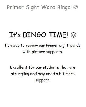 Primer Bingo Game
