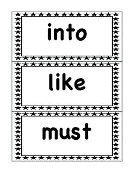 Primer Black and White Stars Word Wall Set