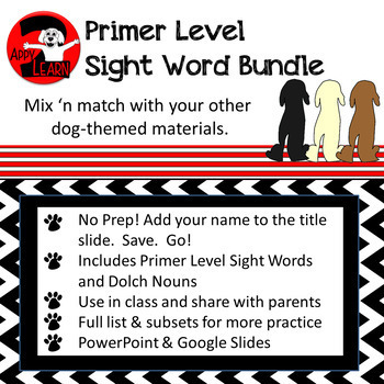 Primer Bundle - Sight Words and Nouns for Dog Theme Classrooms