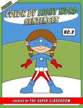 Primer: Color by Sight Word Sentences - 002