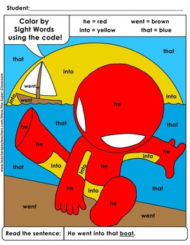 Primer: Color by Sight Word Sentences - 003