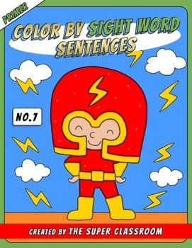 Primer: Color by Sight Word Sentences - 007