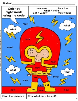 Primer: Color by Sight Word Sentences - 007
