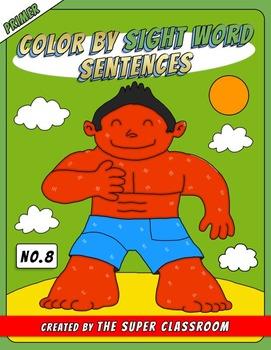Primer: Color by Sight Word Sentences - 008