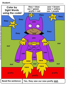 Primer: Color by Sight Word Sentences - 011