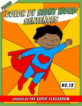 Primer: Color by Sight Word Sentences - 013