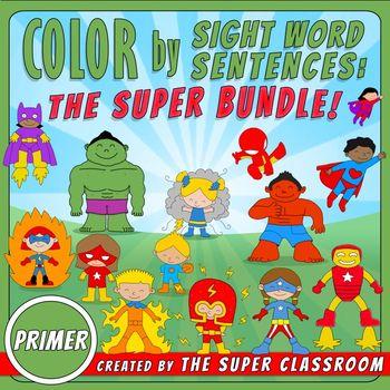 Primer: Color by Sight Word Sentences - The Super Bundle