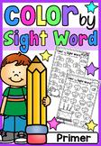 Primer Color by Sight Word Worksheets