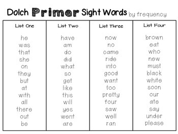 Primer DOLCH Sight Word Pack