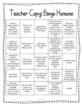 Primer Día de Clase: Bingo Humano / First day of Spanish Class Human Bingo