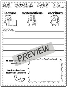 Primer Día de Escuela Paquete / First Day of School Packet (Spanish)
