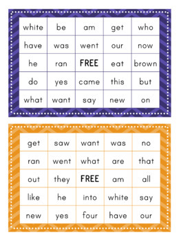 Primer Dolch Sight Word BINGO Card Printable: Includes 30 cards!