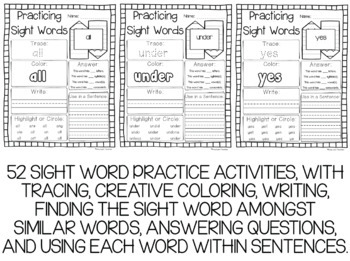 Dolch Primer Sight Words Year-Long Activity Pack