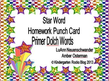Primer Dolch High Frequency/Sight Words - Star Word Punch Cards