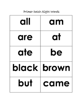 Primer Dolch List Sight Words (Kindergarten)