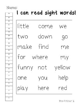 Pre-Primer Dolch Sight Word Assessments