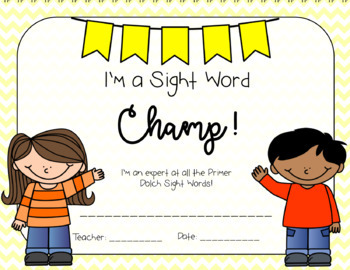 Primer Sight Word Cards