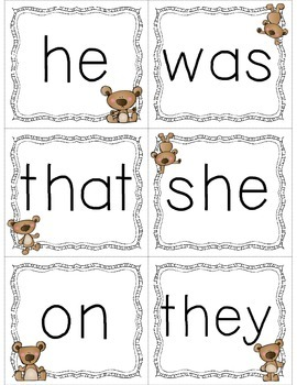 Primer Dolch Sight Word Cards & Booklet - Bears Theme