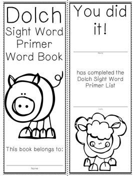 Primer Dolch Sight Word Cards & Booklet - Farm Theme