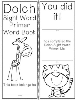 Primer Dolch Sight Word Cards & Booklet - Jungle Theme