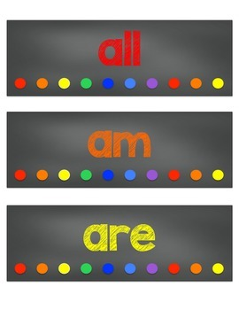 Primer Dolch Sight Word Cards {Chalkboard Brights Theme}