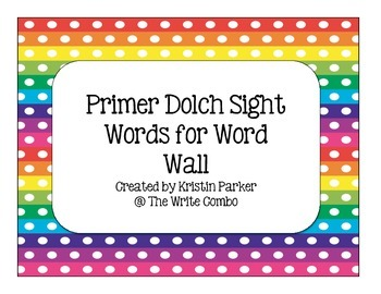 Primer Dolch Sight Word Cards for Word Wall
