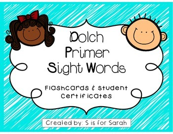 Primer Dolch Sight Word Flashcards and Certificates