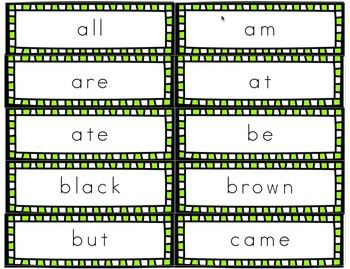 Primer Dolch Sight Word Handwriting Flash Cards
