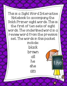 Primer Dolch Sight Word Interactive Notebooks Set 1