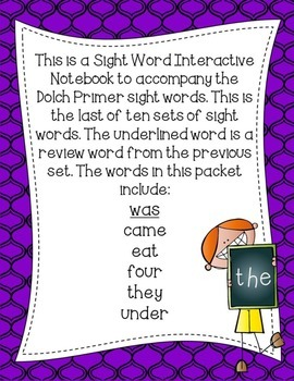 Primer Dolch Sight Word Interactive Notebooks Set 10