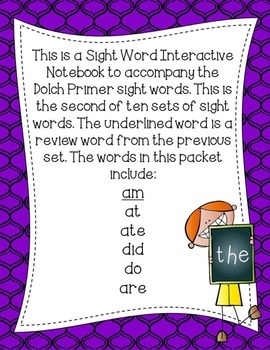 Primer Dolch Sight Word Interactive Notebooks Set 2