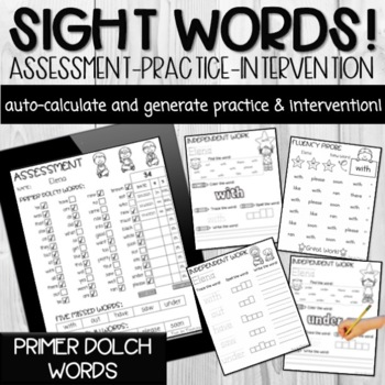 Primer Dolch Sight Word PDF Form (Automatically Counts Words Correct)