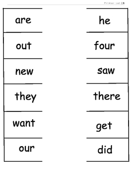 Primer Dolch Sight Word Parking Lot Practice or Assessment