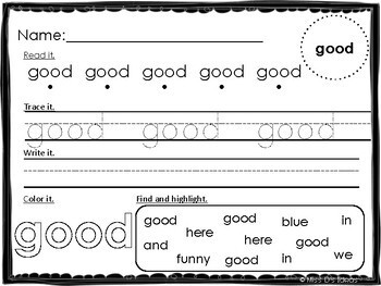 Primer Dolch Sight Word Practice Worksheets