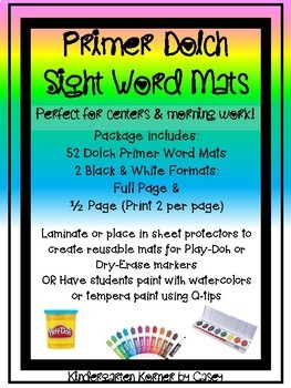 Primer Dolch Sight Word Tracing Mats - Dry-erase Play-Doh Pre-K Kindergarten