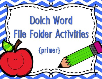 Primer Dolch Sight Word Write and Wipe File Folder Activities